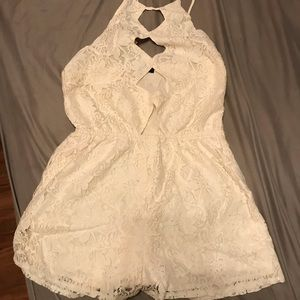 White Lace Romper with front cutouts